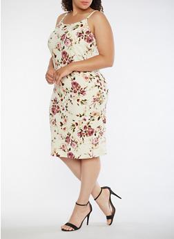 Plus Size Floral Tank Dress - 3390074013968