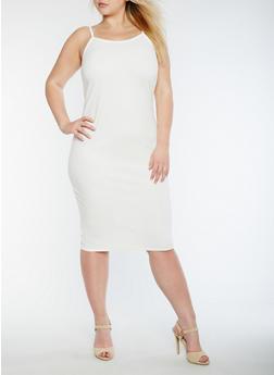 Plus Size Solid Tank Dress - IVORY - 3390074013970