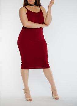 Plus Size Solid Tank Dress - WINE - 3390074013970