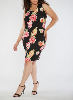 Plus Size Sleeveless Floral Midi Dress - 3390074013971