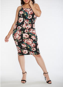 Plus Size Floral Sleeveless Tank Dress - 3390074013972