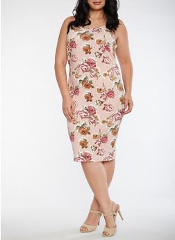 Plus Size Floral Sleeveless Tank Dress - 3390074013972