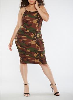 Plus Size Camo Tank Dress - 3390074013975