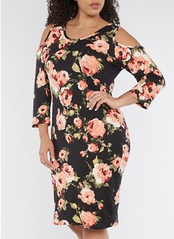 Plus Size Cold Shoulder Floral Print Midi Dress - 3390074014034