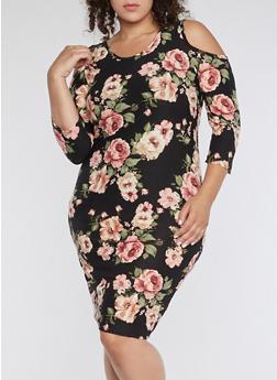 Plus Size Cold Shoulder Floral Print Midi Dress - 3390074014036