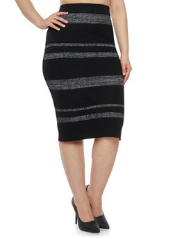 Plus Size Rib Knit Skirt with Marled Stripes - 3392038340456