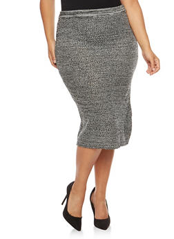 Plus Size Marled Knit Skirt - 3392038340491