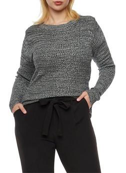 Plus Size Marled Knit Sweater - 3392038346482