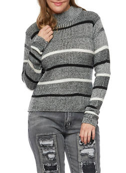 Plus Size Striped Sweater with Mock Neck - 3392038346483
