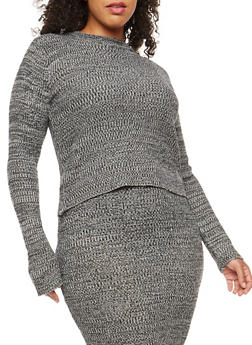 Plus Size Marled Knit Sweater - 3392038346491