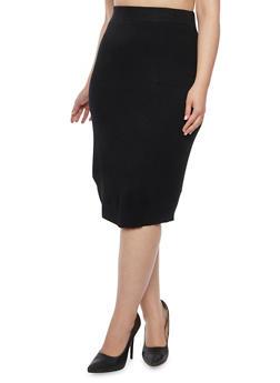 Plus Size Knit Pencil Skirt - 3392038347453
