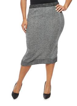 Plus Size Knit Midi Skirt - 3392038347481