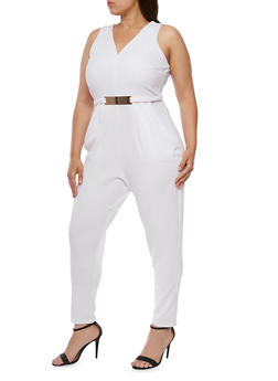 Plus Size Sleeveless Jumpsuit with Metal Accent - WHITE - 3392058752835