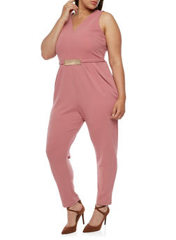 Plus Size Sleeveless Jumpsuit with Metal Accent - 3392058752835