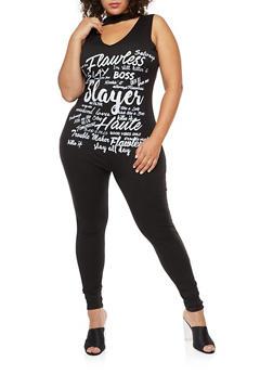 Plus Size Graphic Choker Neck Jumpsuit - 3392058937819