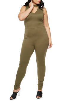 Plus Size Zip Back Jumpsuit - OLIVE - 3392060581250
