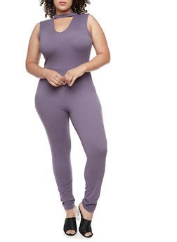 Plus Size Zip Back Jumpsuit - LILAC - 3392060581250