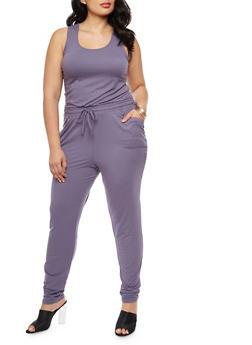 Plus Size Sleeveless Caged Back Jumpsuit - 3392060582250