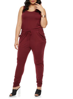 Plus Size Sleeveless Caged Back Jumpsuit - 3392060582250