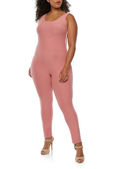 Plus Size Soft Knit Catsuit - WHITE/DUSTY PINK - 3392061632470