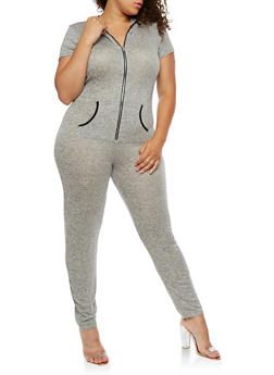 Plus Size Short Sleeve Zipper Front Jumpsuit with Hood - 3392061632473