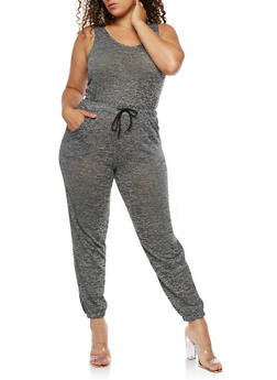 Plus Size Sleeveless Jumpsuit with Cinched Waist - 3392061632474