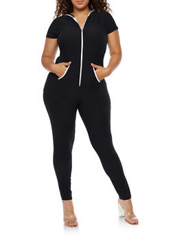Plus Size Short Sleeve Soft Knit Zipper Front Jumpsuit - 3392061632475
