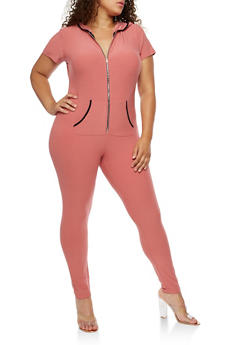 Plus Size Short Sleeve Soft Knit Zipper Front Jumpsuit - 3392061632475