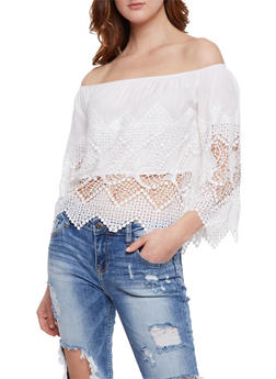 Off the Shoulder Crochet Peasant Top - 3401035042241