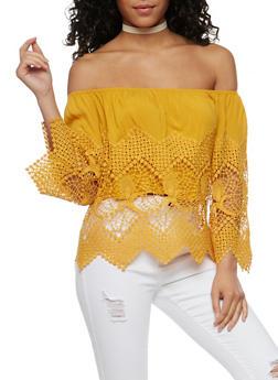 Off the Shoulder Crochet Peasant Top - 3401035042241
