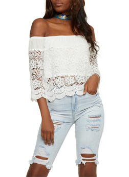 Off the Shoulder 3/4 Sleeve Crochet Top - 3401035042302