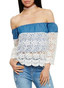 Off the Shoulder 3/4 Sleeve Crochet Top - 3401035042302