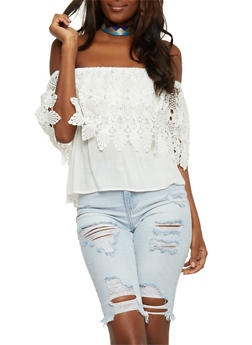 Off the Shoulder Top with Crochet Overlay - WHITE - 3401035042306