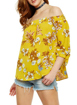 Off the Shoulder Floral Peasant Top - 3401035043268