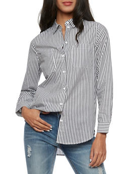 Long Sleeve Striped Button Down Shirt - 3401054210806