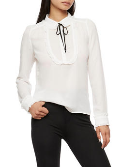 Ruffle Blouse with Neck Tie - WHT-BLK - 3401054210862