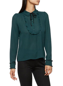 Ruffle Blouse with Neck Tie - 3401054210862
