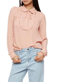 Ruffle Blouse with Neck Tie - MAUVE MAUVE - 3401054210862