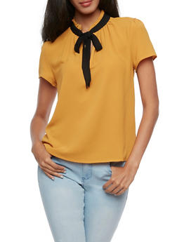Short Sleeve Blouse with Contrast Tie Neck - 3401054211876