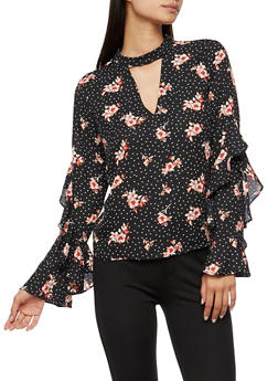 Printed Bell Sleeve Top - 3401054211928