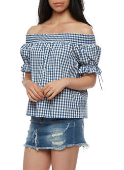 Off the Shoulder Peasant Top with Tie Sleeves - 3401054211976