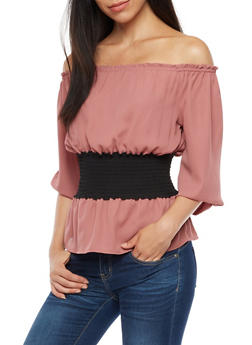 Off the Shoulder Peasant Top with Smocked Waist - 3401054212112