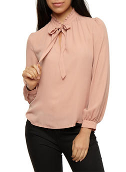 Tie Neck Long Sleeve Top - 3401054212302