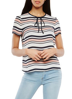 Short Sleeve Striped Blouse - 3401054212329