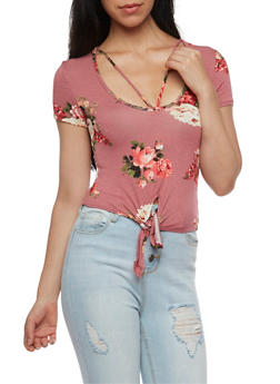 Floral Caged Neck Tie Front Top - 3401054213172