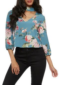Floral Keyhole Choker Top - 3401054213187