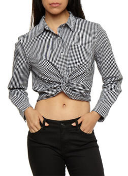 Gingham Twisted Button Front Crop Top - 3401054213198