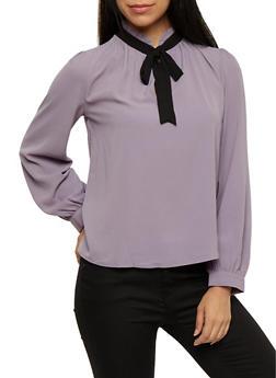 Crepe Knit Tie Mock Neck Top - 3401054213203