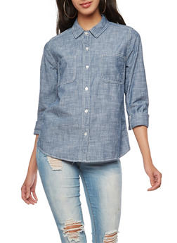 Chambray Cuffed Sleeve Button Front Top - 3401054213674