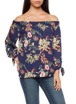 Off the Shoulder Floral Printed Top - 3401054213854